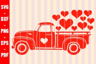 Print on Demand: Valentines Day Love Truck Red Heart SVG Graphic Crafts By creativeshohor