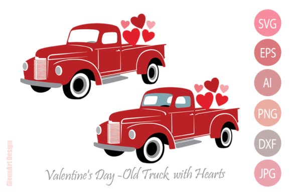 Valentine's Day Truck Clipart with Heart Graphic Illustrations By Gleenart Graphic Design