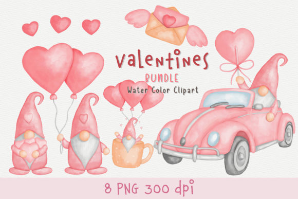 Valentine's Day with Gnome Bundle Graphic Illustrations By AquariiD