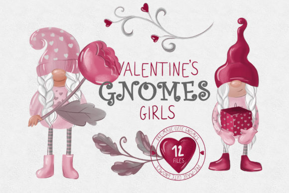 Valentines Gnome Collection Graphic Illustrations By lena-dorosh