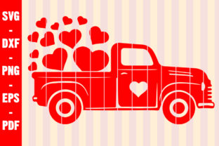Print on Demand: Valentines Red Truck Svg Lots of Love Graphic Crafts By creativeshohor