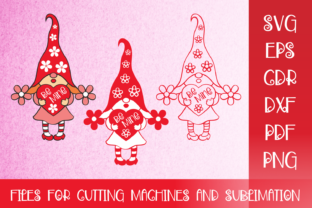 Print on Demand: Valentines SVG with Cute Gnome Girl Graphic Crafts By Olga Belova