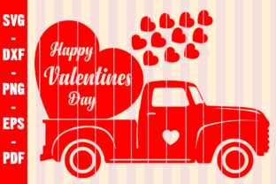 Print on Demand: Valentine's Vintage Truck with Hearts Graphic Crafts By creativeshohor