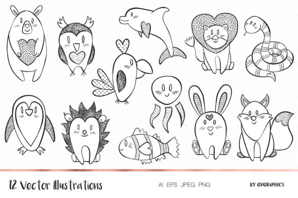 Valentine's Day Animals Illustrations Graphic Illustrations By GVGraphics
