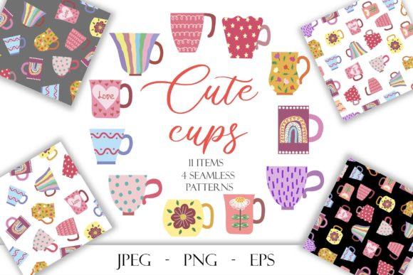 Print on Demand: Vector Collection of Bright Vintage Mugs Graphic Illustrations By TanyaPrintDesign
