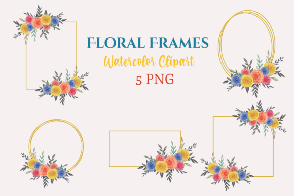 Watercolor Clipart Floral Frames Graphic Illustrations By roosmom