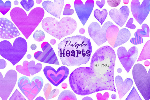 Print on Demand: Watercolor Purple Hearts Graphic Illustrations By TanyaPrintDesign