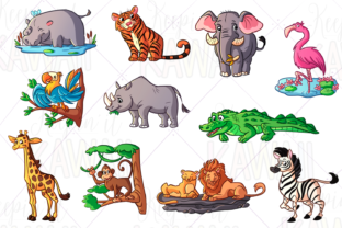 Print on Demand: Zoo Animals Clip Art Graphic Illustrations By Keepinitkawaiidesign