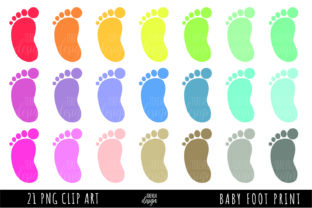 Baby Foot Print, Color Baby Foot Graphic Illustrations By TereVela Design