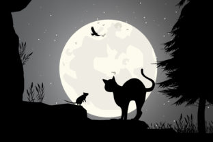 Print on Demand: Cat and Mouse Silhouette Graphic Illustrations By curutdesign