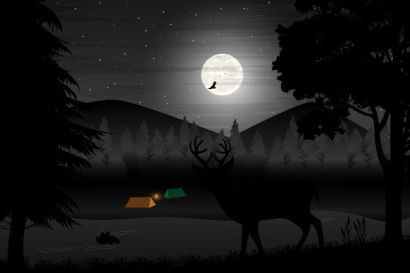 Print on Demand: Deer Silhouette Landscape Graphic Illustrations By curutdesign