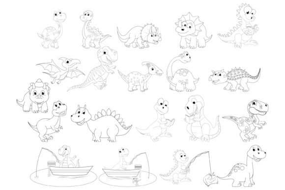 Print on Demand: Dinosaur with Line Collection Graphic Illustrations By curutdesign