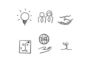 Print on Demand: Doodle Core Values Symbol Graphic Icons By GwensGraphicstudio