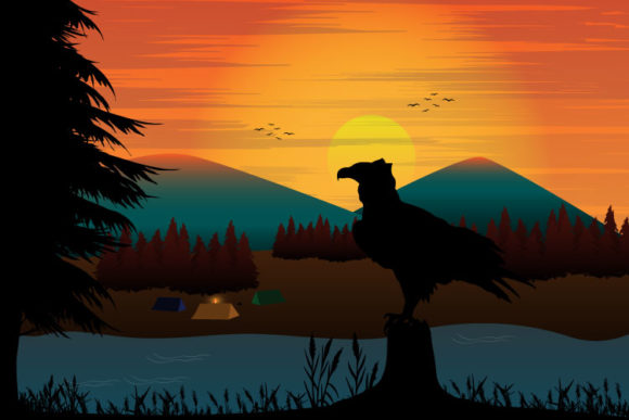 Print on Demand: Eagle Silhouette Landscape Graphic Illustrations By curutdesign