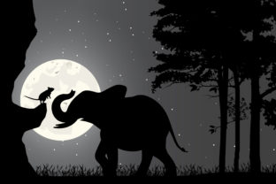 Print on Demand: Elephant and Mouse Silhouette Graphic Illustrations By curutdesign