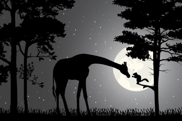 Giraffe and Squirrel Silhouette Graphic