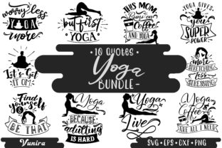 Print on Demand: 10 Yoga Bundles | Lettering Quotes Graphic Crafts By Vunira