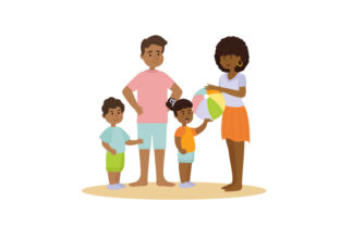 African American Family at the Beach Summer Craft Cut File By Creative Fabrica Crafts