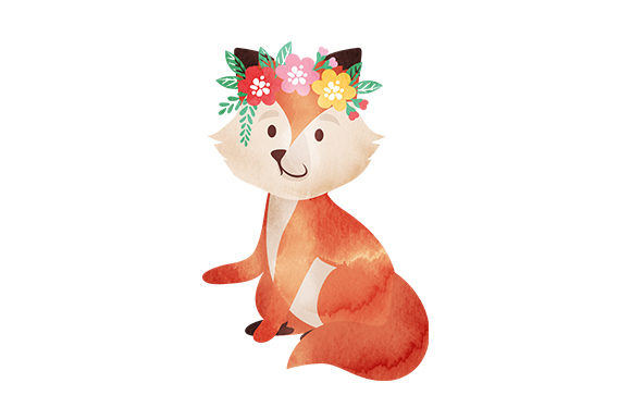 Baby Fox with Flower Crown Animals Craft Cut File By Creative Fabrica Crafts