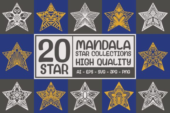 Print on Demand: 20 Star - Mandala Collections Graphic Crafts By goodjavastudio