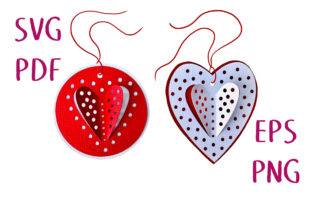 3D Polka Dot Hearts Gift Tag SVG Cut Graphic 3D SVG By Nic Squirrell
