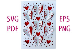 3D Polka Dot Hearts Greetings Card SVG Graphic 3D SVG By Nic Squirrell