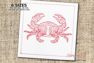 Abstract Cancer Crab Lineart Design Marine Mammals Embroidery Design By Redwork101