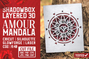 Amour Mandala 3D Layered Cut File Graphic Crafts By pixaroma