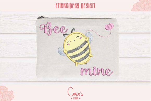 Bee Mine Valentine's Day Embroidery Design By carasembor