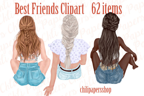 Best Friends Clipart,Besties Clipart Graphic Illustrations By ChiliPapers