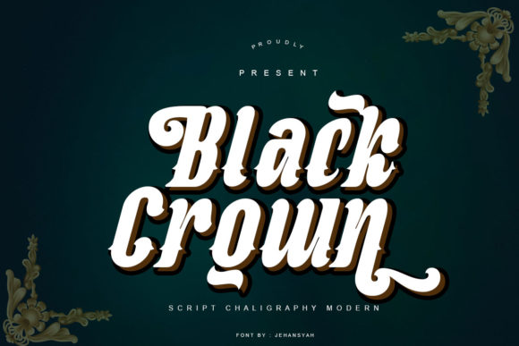 Print on Demand: Black Crown Script & Handwritten Font By jehansyah251