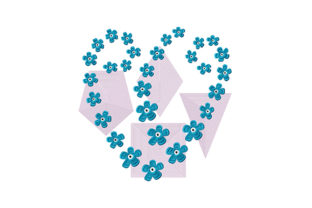 Print on Demand: Blue Flowers and Geometric Shapes Floral Wreaths Embroidery Design By EmbArt