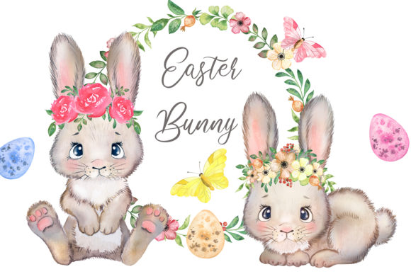 Bunny Watercolor Clipart. Easter Bunny Gráfico Add-ons Por EvArtPrint