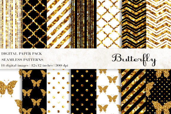 Butterfly Digital Papers Graphic Patterns By BonaDesigns