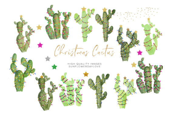 Print on Demand: Cactus Christmas Clipart, Watercolor Graphic Illustrations By SunflowerLove