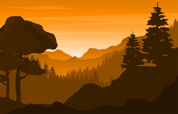 Calm Mountain Forest Wild Nature Scene Graphic Illustrations By jongcreative