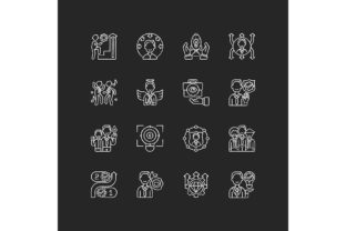 Print on Demand: Core Values Chalk White Icons Set Graphic Icons By bsd studio