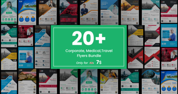 Corporate, Medical, and Travel Flyer Bundle  By GraphicHut