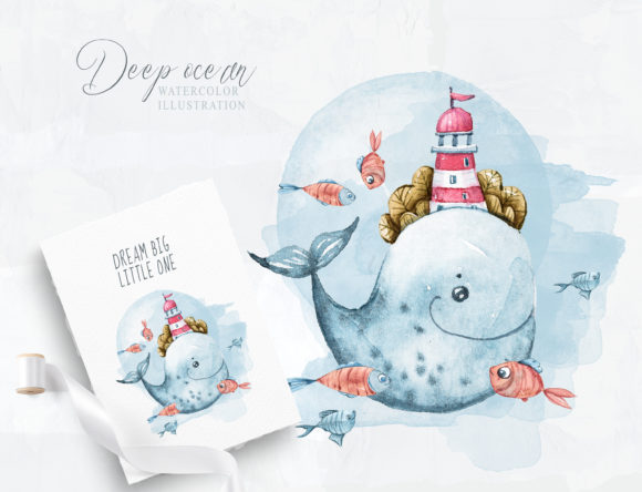 Print on Demand: Cute Whale. Baby Shower Clipart Graphic Illustrations By Tiana Geo