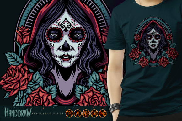 Print on Demand: Dia De Los Muertos Girl Roses Graphic Illustrations By artgrarisstudio