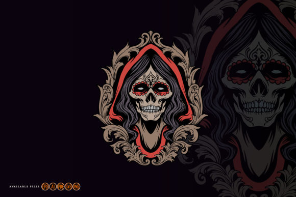 Print on Demand: Dia De Los Muertos Skull Girl Graphic Illustrations By artgrarisstudio