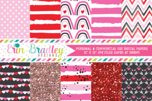 Print on Demand: Digital Papers - Pink Valentines Day Graphic Backgrounds By Erin Bradley Designs