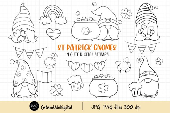 Digital Stamp St Patrick Gnomes. Graphic Illustrations By CatAndMe