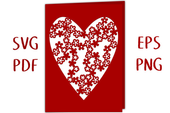 Drifting Blossom Heart Card 3D SVG Cut Graphic 3D SVG By Nic Squirrell