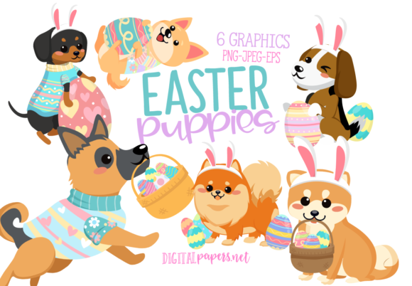 Print on Demand: Easter Puppies Graphic Illustrations By DigitalPapers