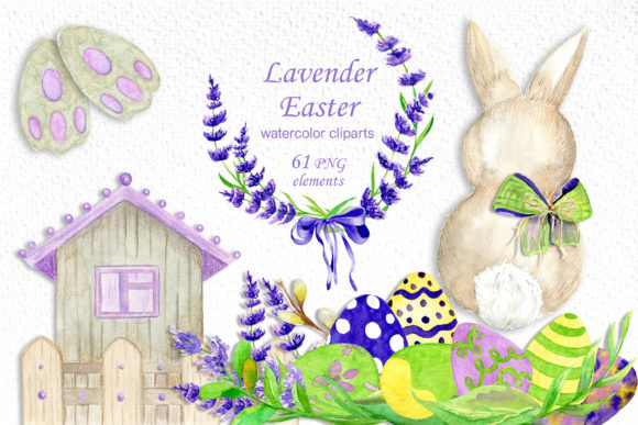 Easter Bunny Clipart, Watercolor Lavende Graphic Illustrations By ksenia.shuneiko