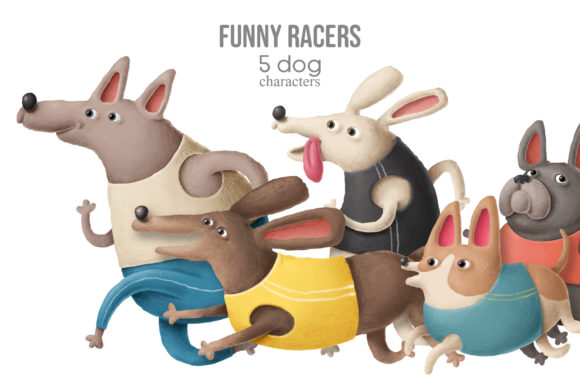 Print on Demand: Funny Racers Dog Clipart Graphic Illustrations By Architekt_AT