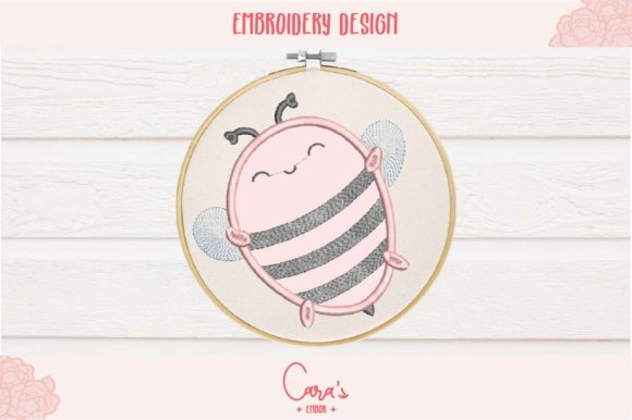 Happy Bee Bugs & Insects Embroidery Design By carasembor
