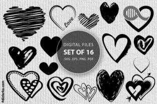 Print on Demand: Hearts Bundle, Lips, Kiss, Hand Drawing Graphic Crafts By dizlarka