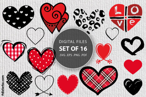 Print on Demand: Hearts Bundle Love Files, Hand Drawing Graphic Crafts By dizlarka